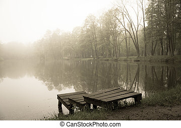 Wooden pier at the small lake in a park in misty morning