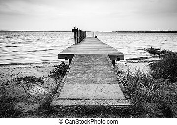 Wooden pier by the sea on a nordic beach