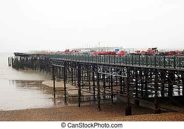Wooden pier construction - Wooden old pier being renovated...
