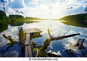 Wooden pier for fishing on the lake with seagulls