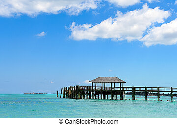wooden pier in Caribbean ocean