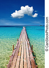 Wooden pier, Kood island, Thailand - Wooden pier, tropical ...