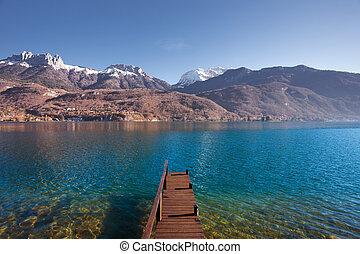 Wooden Pier Lake Mountains