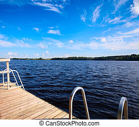 Wooden pier on a lake.