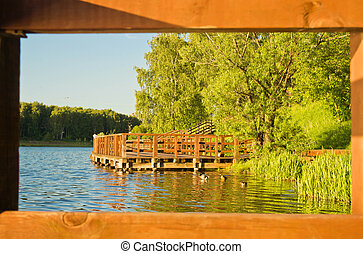 wooden pier on a pond in the summer