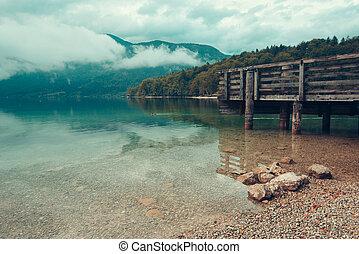 Wooden pier on Bohinj lake