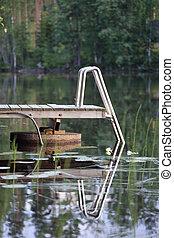 Wooden pier on lake