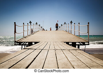 Wooden pier on the sea