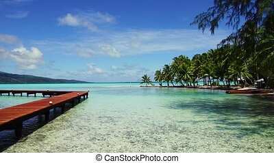wooden pier on tropical beach in french polynesia - travel,...