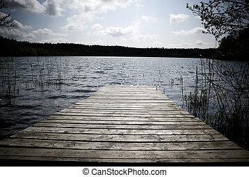 Wooden pier. - Weathered wooden pier - intentional...