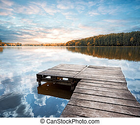 Wooden pier stretching into the lake