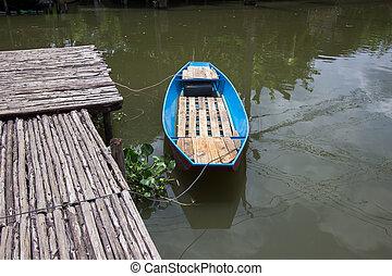 Wooden pier, waterfront and rural atmosphere at Khlong Bang Ramat
