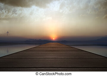 Wooden pier with lake view