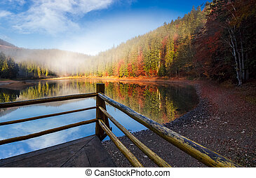 wooden pierce fence on a lake in fog. beautiful autumnal...