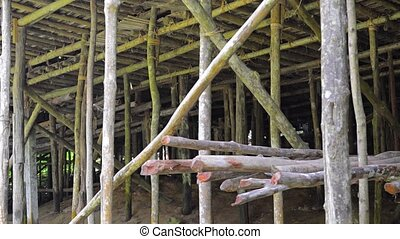 Wooden Piers under a House in Borneo, Malaysia. Video 4k - ...
