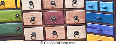 Wooden pigeonholes - Colorful wooden pigeonholes