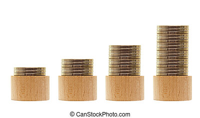 wooden piles of money, growing business concept