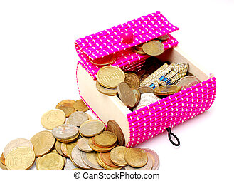 wooden pink gift box and old ane new coins on white