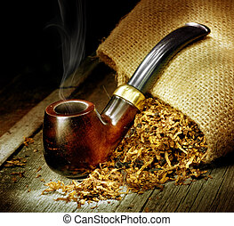 Wooden Pipe And Tobacco Design. Over Black Background