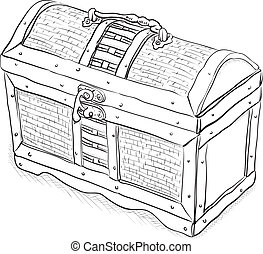 Wooden pirate chest - a simple monochrome vector illustration