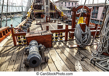 Wooden pirate ship in Genova port - Wooden pirate ship for...