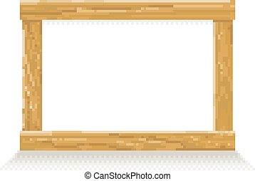 Wooden Pixel Art Background Sign