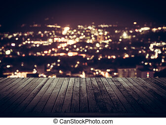 Wooden plank above phuket town at night - View from wooden ...
