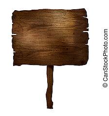 Wooden plank - Design elements. 3D wooden plank sign. Rustic...