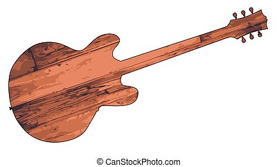 Wooden Plank Guitar - Electric Guitar shape created from...