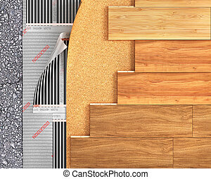 Wooden plank with floor heating. 3d illustration