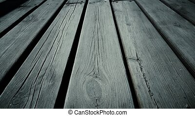 Wooden planks. Dolly shot. Close up
