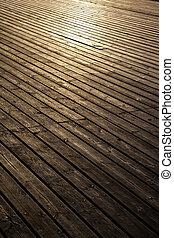Wooden planks in early morning light
