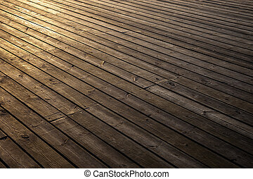 Wooden planks in early morning light - Grungy wooden planks ...