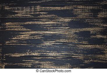 Wooden planks of mottled background, black and gold color