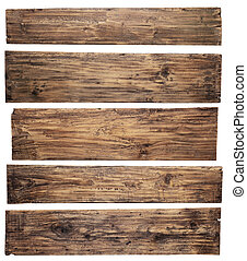 Old wooden planks isolated on white background