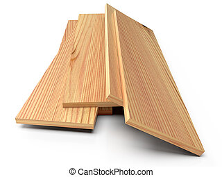 Wooden planks on a white floor. 3D rendering