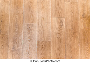 Top view of linoleum flooring with embossed imitation of wooden planks pattern, fragment, background