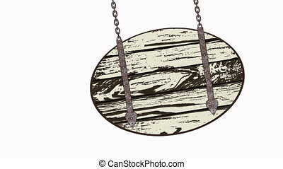 wooden planks with chains - Oval wooden planks illustration...