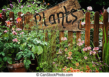 Wooden plant sign in flower garden