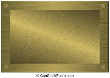 Wooden plaque with brushed metal isolated on white