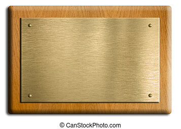 Wooden plaque with gold or brass plate isolated on white....
