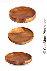 Wooden plate an isolated on white background