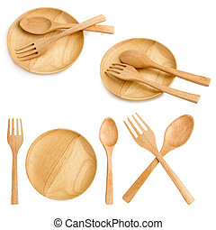 wooden plate and spoons forks on white background.