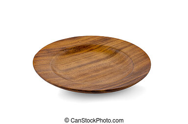 wooden plate isolated on a white background