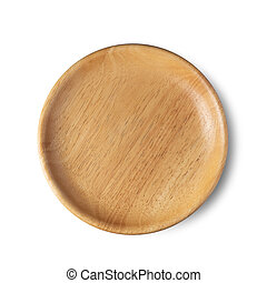 wooden plate isolated on a white background top view.