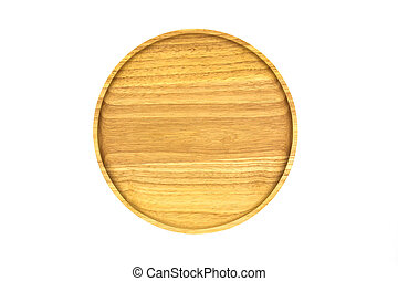 Wooden plate isolated on white background.