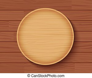 wooden plate on wood table background