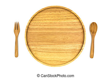 Wooden plate, spoon and fork isolated on white background.