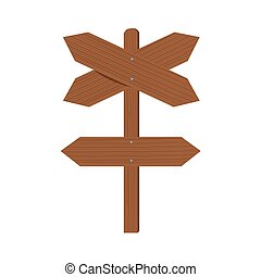 Wooden plates cross arrows and index of direction. Flat Vector