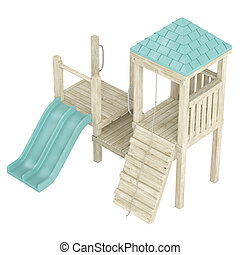 Wooden playground structure with climbing ramp, rope and...